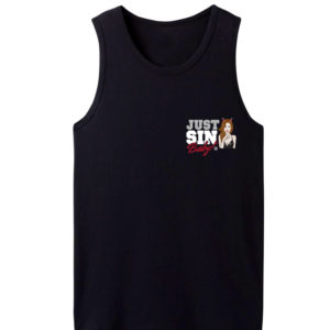 Black tank top with Just sin, Baby! logo
